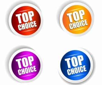 Top Choice Sticker Vector Set