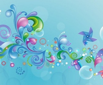 Abstract Colored Design on Blue Background Vector Graphic