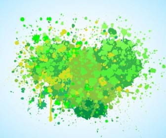 Green Splash Creative Vector Abstract Heart
