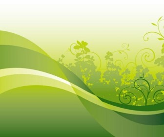 Green Floral with Wave Vector Background