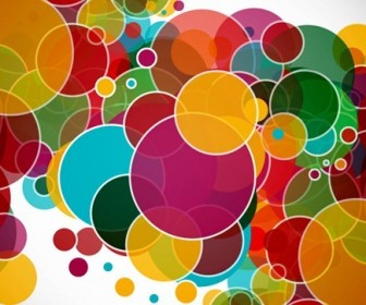 Rainbow Color Circles Vector Background