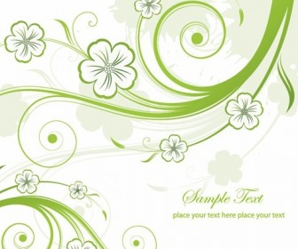 Abstract Green Floral Swirls Vector Graphic
