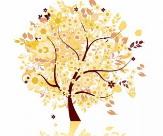 Abstract Autumn Tree Vector Graphic