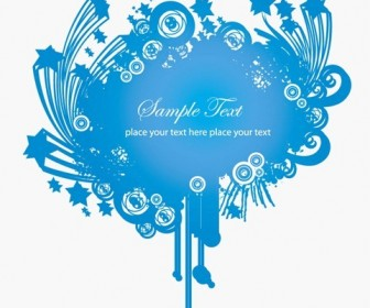 Blue Frame Decoration Vector Graphic