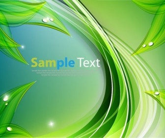 Abstract Green Wavy Lines Design Vector Graphic