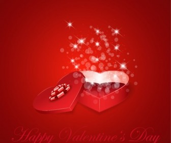 Heart Gift Present for Valentine's Day Background