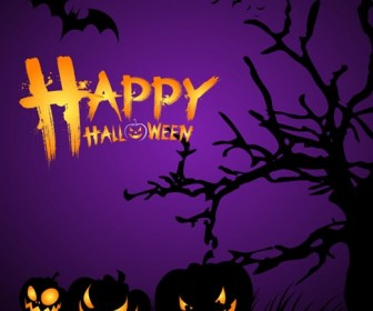Halloween Night Poster Template Vector Illustration