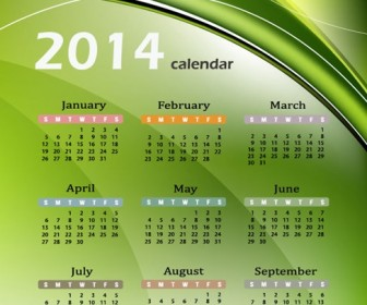 Calendar 2014 with Abstract Green Background Vector Graphic