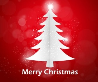 Red Abstract Background Christmas Tree Vector Graphic