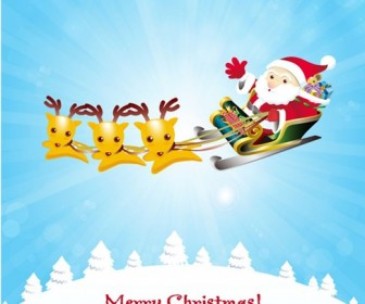 Christmas Background with Reindeer and Santa Claus Vector Graphic