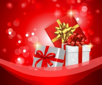 Christmas Background with Gift Box Vector Illustration