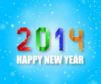 2014 Happy New Year Colorful Origami Style on Blue Background Vector