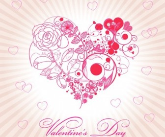 Abstract Beautiful Floral Heart For Valentine Day Vector Illustration