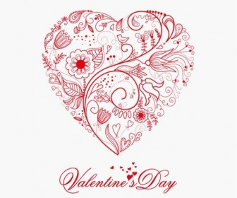 Beautiful Greeting Floral Heart Vector Illustration