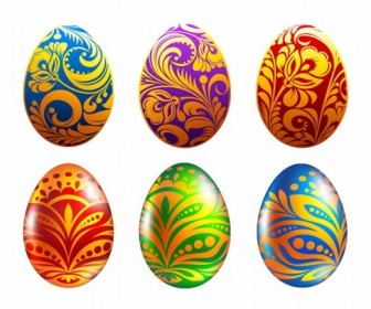 Set of Easter Eggs Vector Illustration