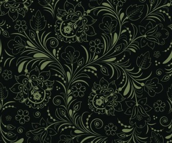 Seamless Floral Background Dark Green