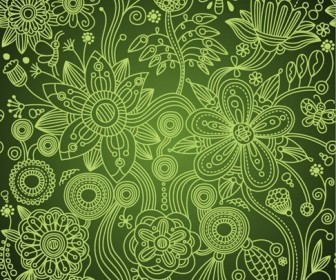 Green Floral Seamless Background Vector Illustration