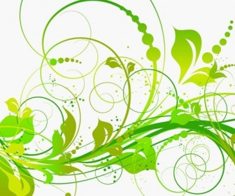 Abstract Green Floral Vector Illustration