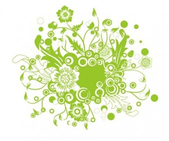 Green Floral Vector Illustration Art