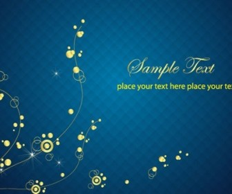 Blue Background with Abstract Golden Floral Vector Graphic