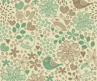 Birds in Flowers Romantic Seamless Pattern Vector Background