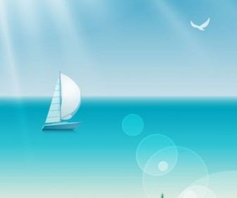 Beach Sea Summer Vector Illustration