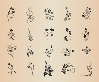 Floral Element Set Vector Garaphic