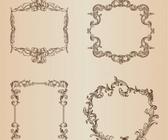 Vintage Floral Decorative Frame Vector Set