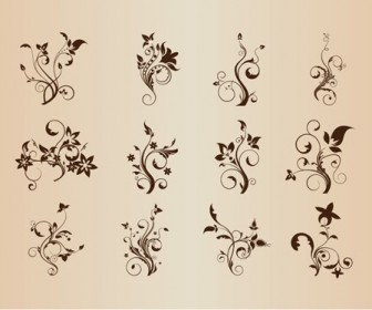Set of Floral Elements for Design Vector Graphic