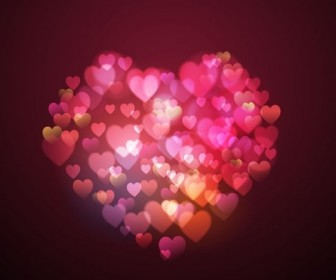 Bokeh Lights Heart Shape Vector Background