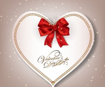 Elegant Heart Shaped Card With Red Bow Valentines Day Vector Illustration