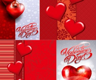 Valentine's Day Greeting Card Vector Set