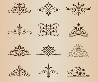 Set of Vintage Floral Ornament Elements Vector Illustration