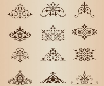 Set of Vintage Ornaments with Floral Elements Vector Illustration