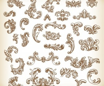Vintage Hand Drawn Floral Elements Vector Graphics Set