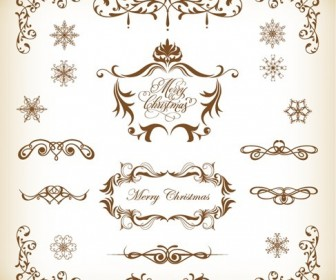 Vector Set of Christmas Decoration Elements