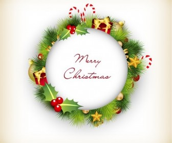 Christmas Wreath with Decorations Vector Illustration