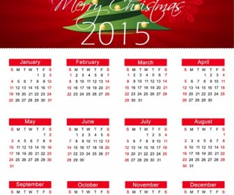 Christmas Calendar for 2015 Year Vector Illustration