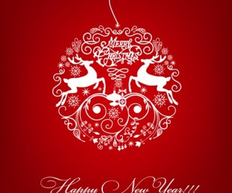 White Christmas Ball on Red Background Vector Illustration