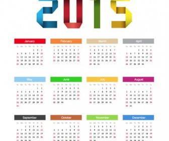 2015 Happy New Year Calendar Vector