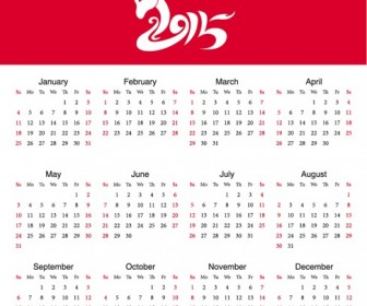 Calendar New Year 2015 Year of Sheep Vector Illustration