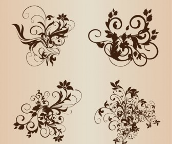 Floral Ornament Elements Vector Set