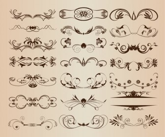Vintage Ornament Decorative Design Elements Vector Set 1