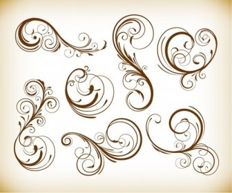 Vintage Design Swirl Floral Element Vector Graphis Set