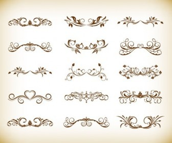Vintage Symmetrical Floral Element Vector Set
