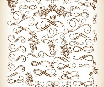 Vintage Calligraphic Design Elements Vector Illustration Set
