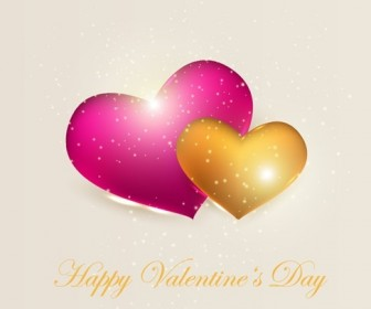 Valentines Day Card with Sparkling Heart Vector Illustration
