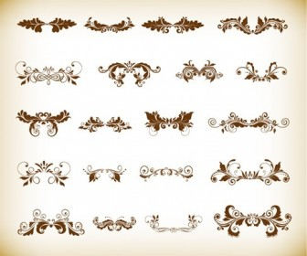 Vintage Ornaments with Floral Element for Design Vector Set