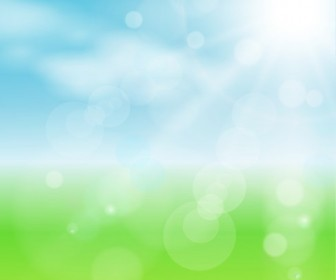 Spring Bokeh Blue Sky Background Vector Illustration