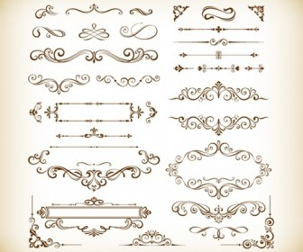 Vector Set of Decorative Floral Elements for Design